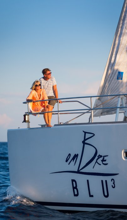 Naples, Italy, 7/10/2018 Ombre Blu3 Luxury Catamaran Cruises The Sunreef 70 Ombre Blu 3 catamaran cruising in the Napolitan Archipelago.   Ph: Guido Cantini